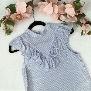 Pinstripe sleeveless ruffle blouse.